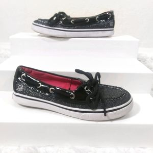 Sperry - black shimmery boat shoes